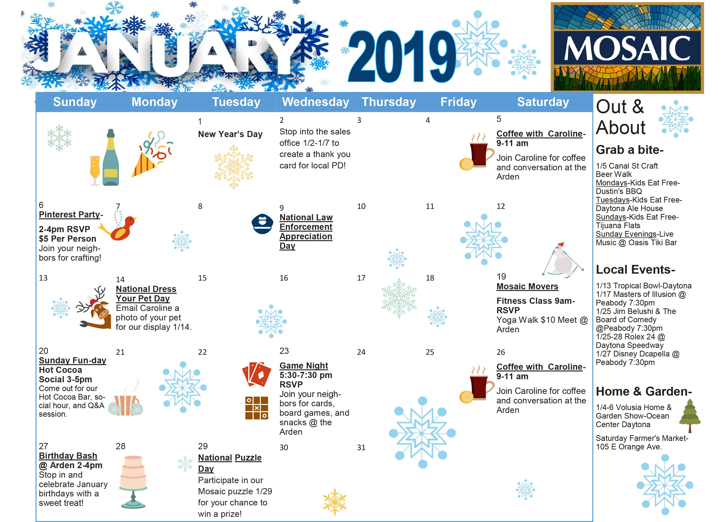 January Event Calendar