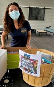 Caroline Cline at a Mosaic School Supplies Drive