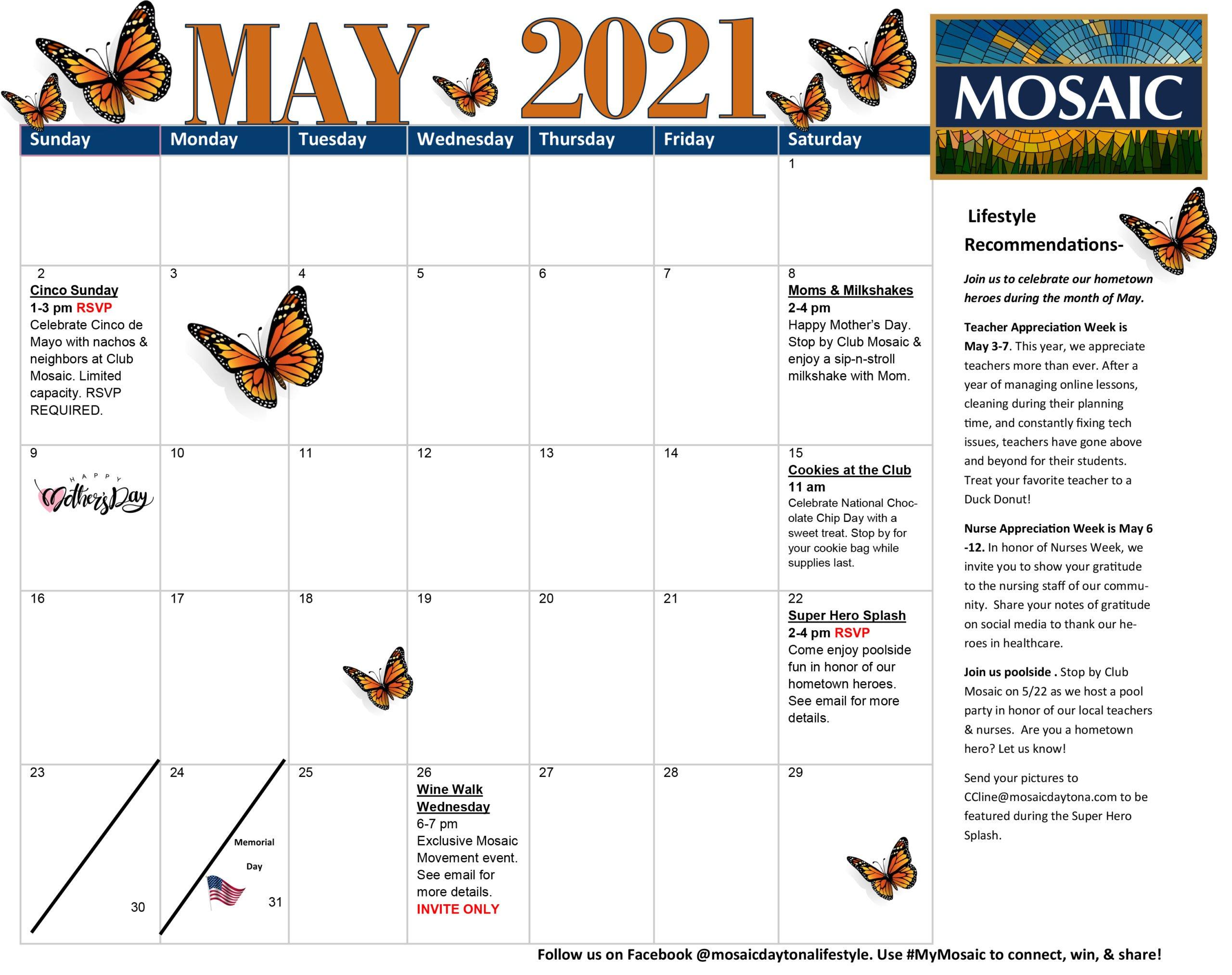 May 2021 Events Calendar